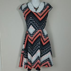 Sundress skater Coral turquoise blue stretch mini